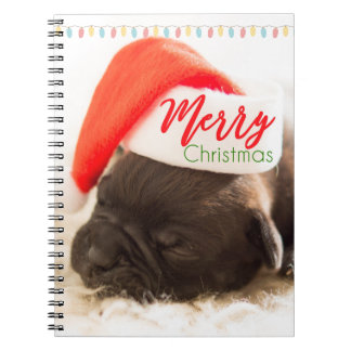 Christmas Pug in Santa Hat with Christmas Lights Notebook