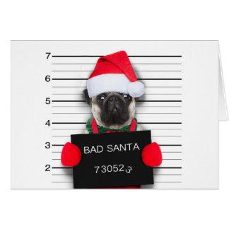 Christmas pug - mugshot dog - santa pug card