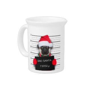 Christmas pug - mugshot dog - santa pug pitcher