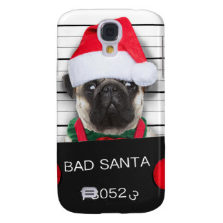 Christmas pug - mugshot dog - santa pug samsung galaxy s4 cover