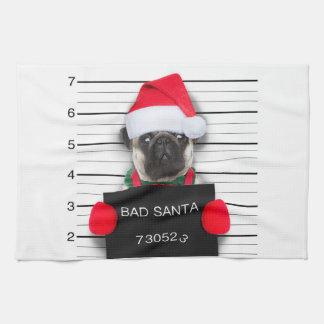Christmas pug - mugshot dog - santa pug tea towel