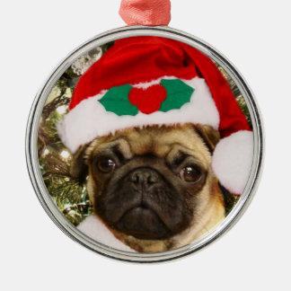 Christmas pug ornament