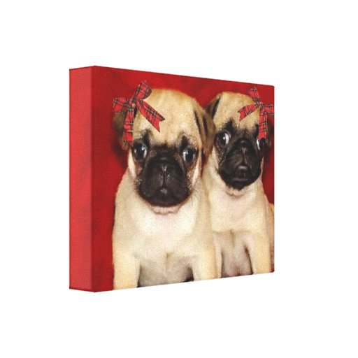 Christmas pug puppies gallery wrap canvas print