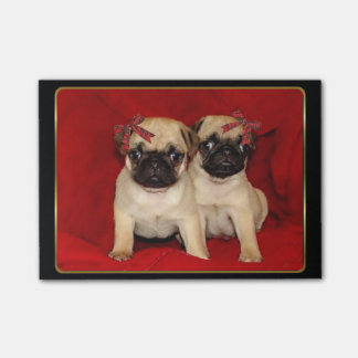 Christmas pug puppies post-it® notes