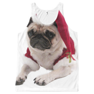 Christmas pug - santa claus dog - dog claus All-Over print singlet