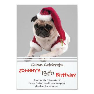 Christmas pug - santa claus dog - dog claus card