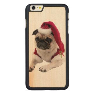 Christmas pug - santa claus dog - dog claus carved maple iPhone 6 plus case