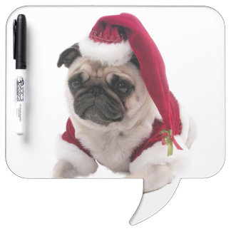 Christmas pug - santa claus dog - dog claus dry erase board