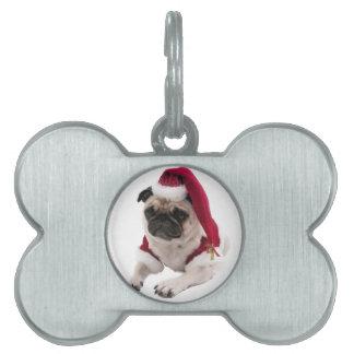 Christmas pug - santa claus dog - dog claus pet name tag
