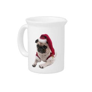 Christmas pug - santa claus dog - dog claus pitcher
