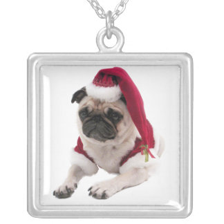 Christmas pug - santa claus dog - dog claus silver plated necklace