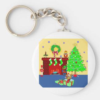 Christmas Puppy Basic Round Button Key Ring