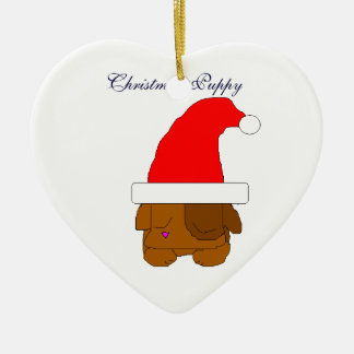Christmas Puppy Ceramic Heart Decoration