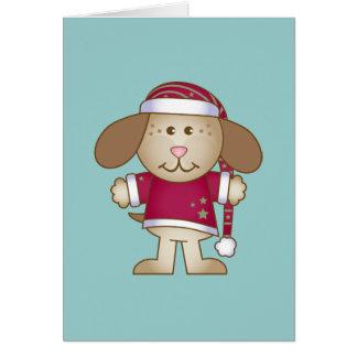 Christmas Puppy Elf Greeting Card