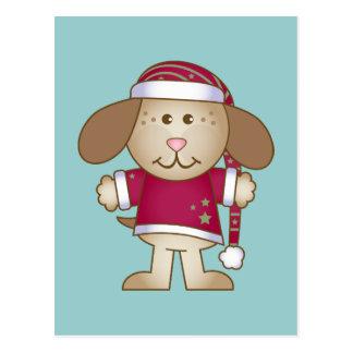 Christmas Puppy Elf Postcard