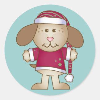 Christmas Puppy Elf Round Sticker