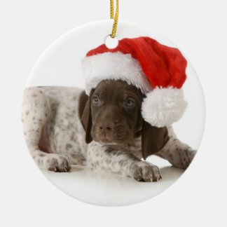 Christmas Puppy - German Shorthaired Pointer Ceramic Ornament
