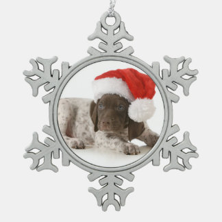 Christmas Puppy - German Shorthaired Pointer Snowflake Pewter Christmas Ornament