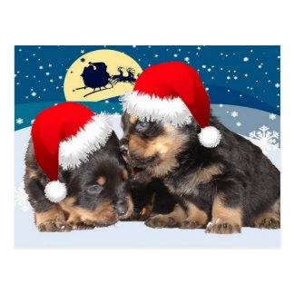 Christmas Puppy: I Saw Mummy Kissing Santa Claus Postcard