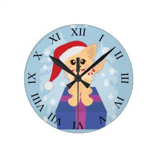 Christmas Puppy Round Clock