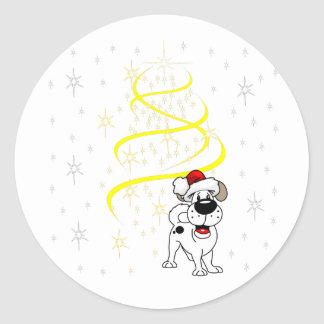 Christmas Pups Classic Round Sticker