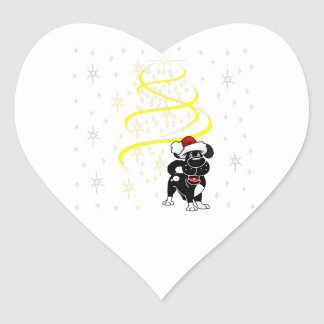 Christmas Pups Heart Sticker