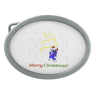 Christmas Pups Oval Belt Buckle