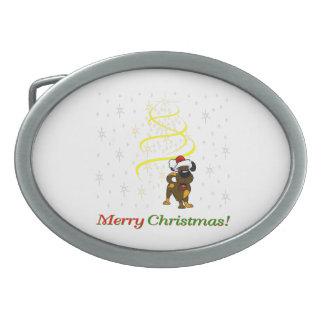 Christmas Pups Oval Belt Buckles