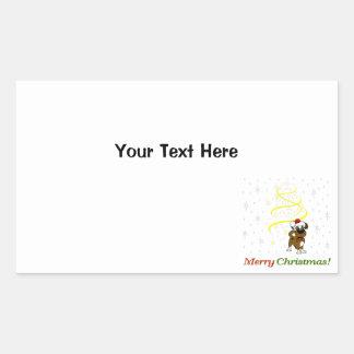 Christmas Pups Rectangular Sticker
