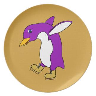 Christmas Purple Penguin with Gold Ice Skates Dinner Plate