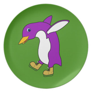 Christmas Purple Penguin with Gold Ice Skates Party Plates
