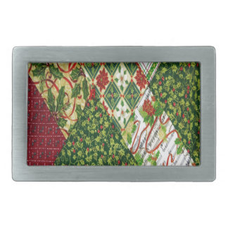 Christmas Quilt Background Rectangular Belt Buckle