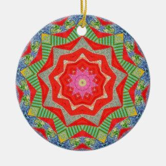Christmas Quilt Fractal Ceramic Ornament