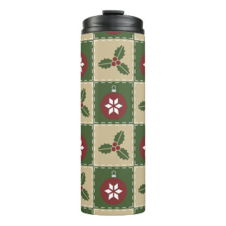 Christmas Quilt Thermal Tumbler