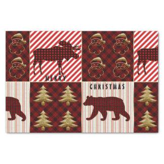 Christmas Quilting Buffalo Plaid Reindeer Bear Tissue Paper