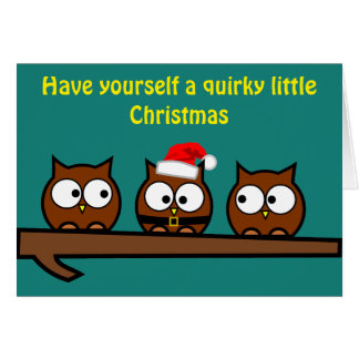 Christmas Quirky Owls Greeting Card