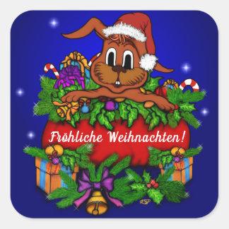 Christmas rabbit, merry Christmas! Square Sticker