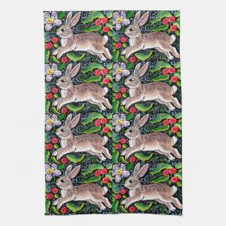 Christmas Rabbit Rose Floral Tole Kitchen Towel