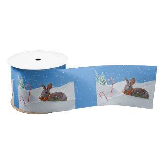 Christmas, Rabbit, Snow, Candy Canes, Customizable Satin Ribbon