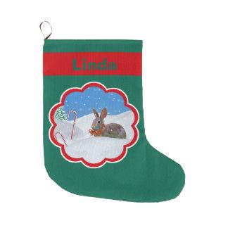 Christmas, Rabbit, Snow, Candy Canes, Name Large Christmas Stocking