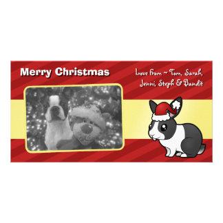 Christmas Rabbit (uppy ear smooth hair) Customised Photo Card