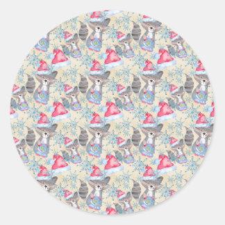 Christmas Raccoon Classic Round Sticker