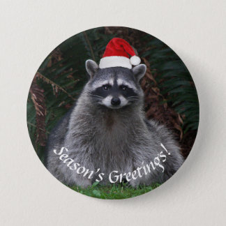 Christmas Raccoon Holiday 7.5 Cm Round Badge