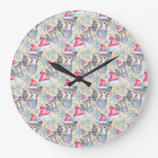 Christmas Raccoon Large Clock