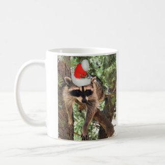 Christmas raccoon with Santa Hat Basic White Mug