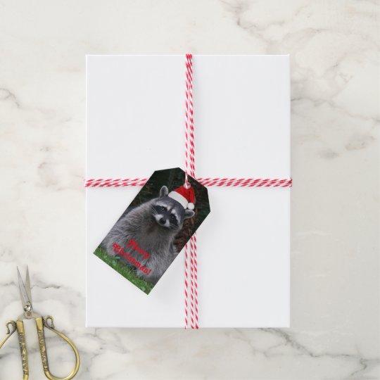 Christmas Racoon Holiday Gift Tags