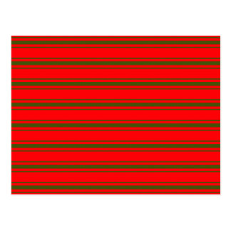 Christmas Red and Green Bedding Stripes Postcard