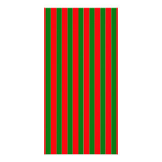 Christmas Red and Green Candy Cane Stripes Photo Card Template