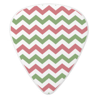 Christmas Red and Green Chevron Pattern White Delrin Guitar Pick