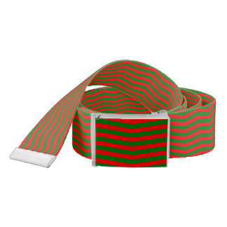 Christmas Red and Green Chevron Zig Zag Stripes Belt
